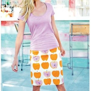 Boden Printed Cotton A-line Skirt in Jaffa Apples